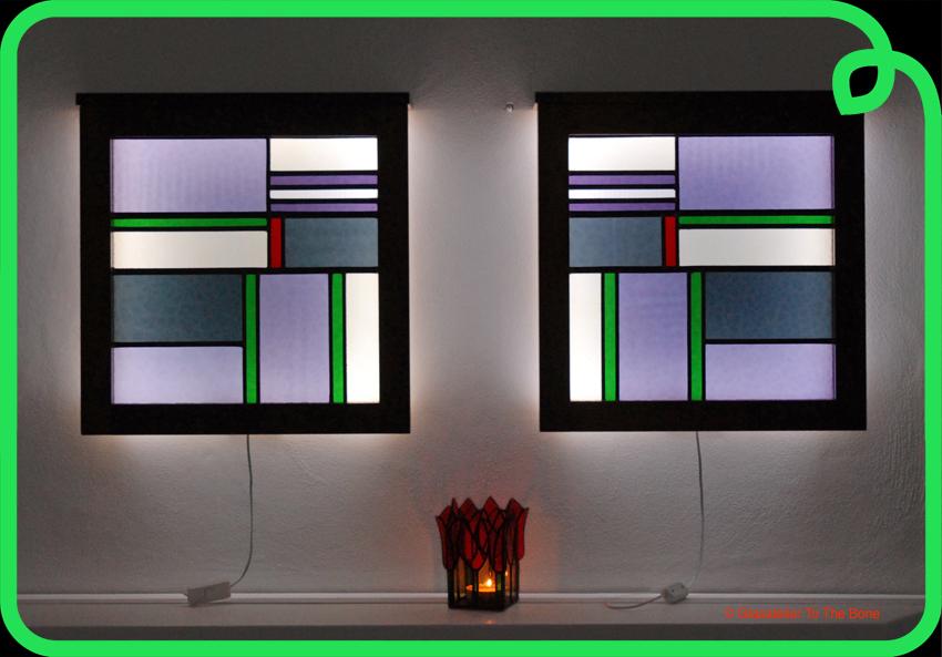 Verrassend wandlamp / schemerlamp met glas in lood model jaren '30 NG-92